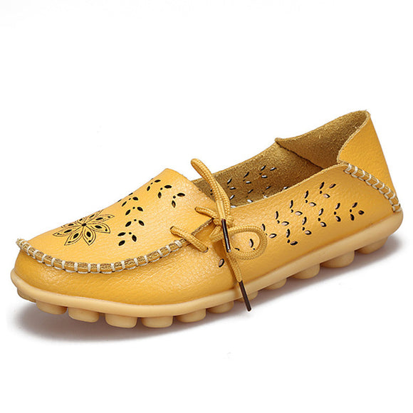 High Quality Leather Comfortable Slip On Loafers for women in yellow color
