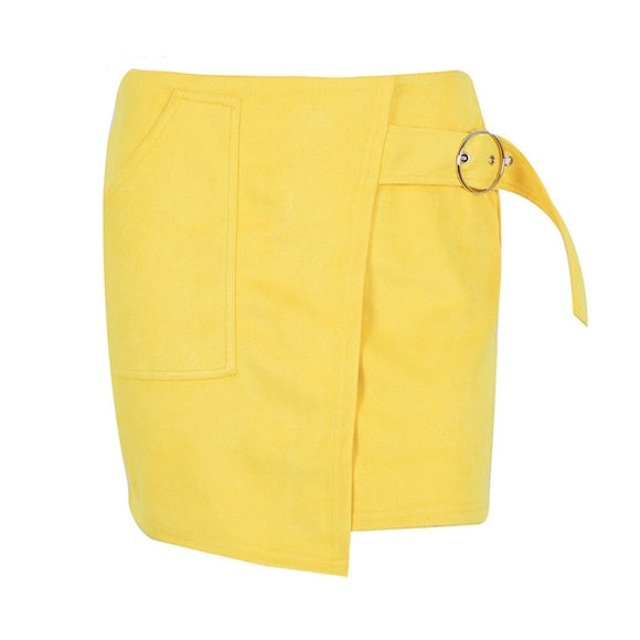High Waist Asymmetrical Suede Leather Pencil Mini skirt yellow color