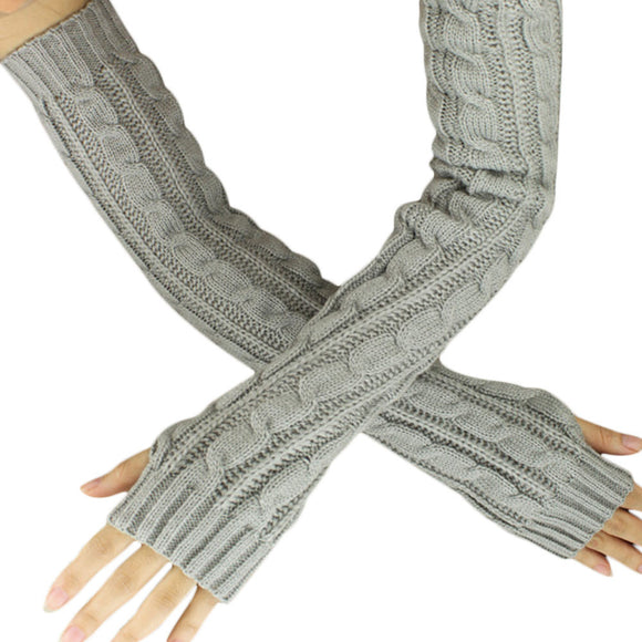 Knitted long gloves for winter grey color long winter gloves for women