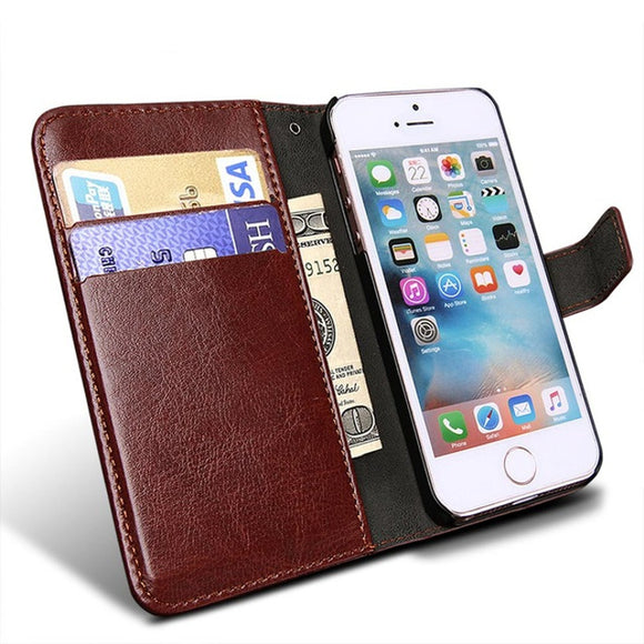 Luxury Leather Wallet Flip Phone Case w Card Holder
