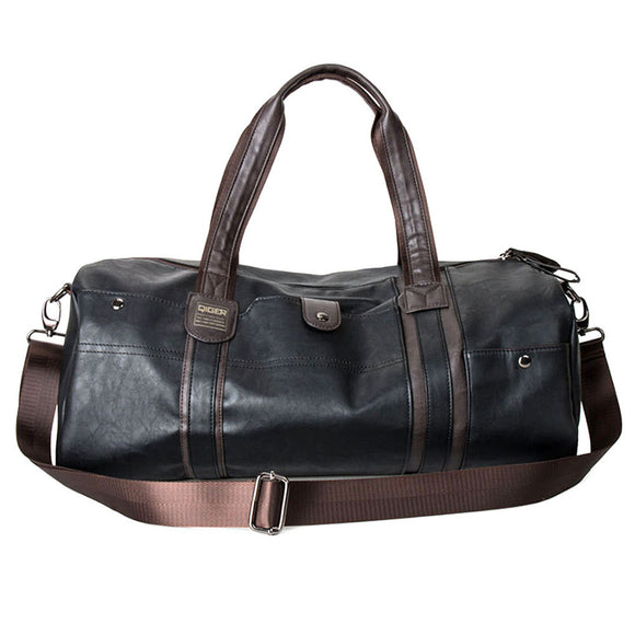 Large Capacity Leather Travel and Gym Duffel Tote Bag