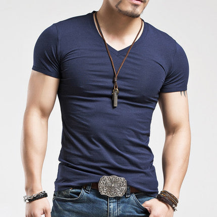 Men's Tops Tees summer new cotton v neck short sleeve t shirt men fashion trends fitness t-shirt