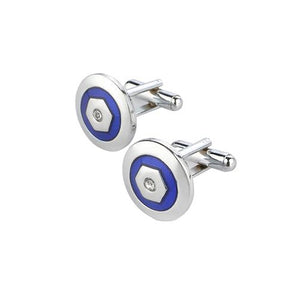 Blue Inlaid Round Cuff Links