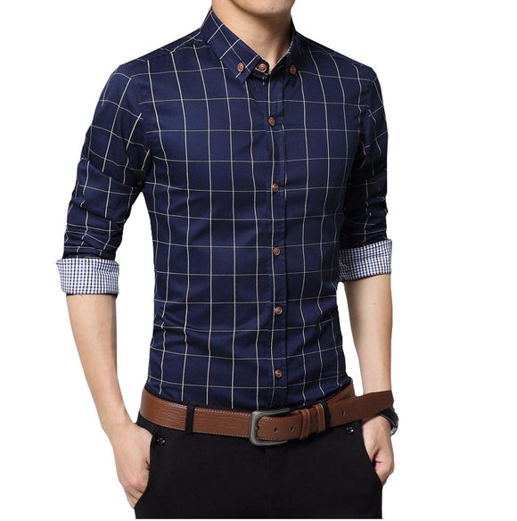 Men's Fitted Long Sleeve Plaid Shirt