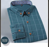 Men's Fitted Long Sleeve Plaid Shirt Green color shirt