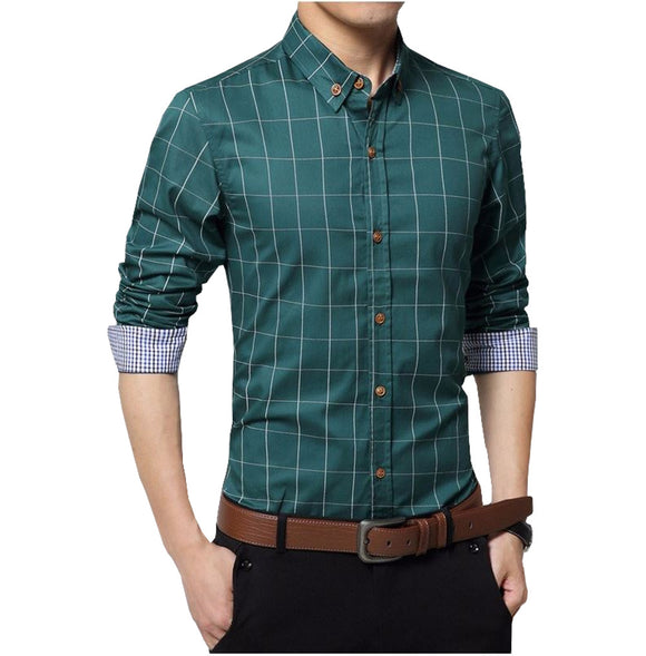 Men's Fitted Long Sleeve Stripped Shirt_green color shirt