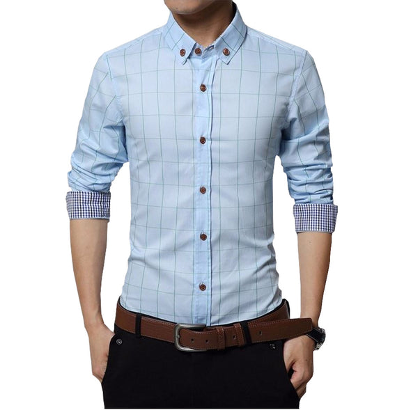 Light Blue color plaid men's dress shirt