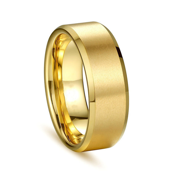 Men's Ring Titanium Black Gold Band