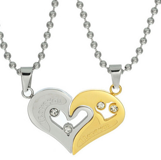Joined Hearts Couples Love Chain Paired Necklace