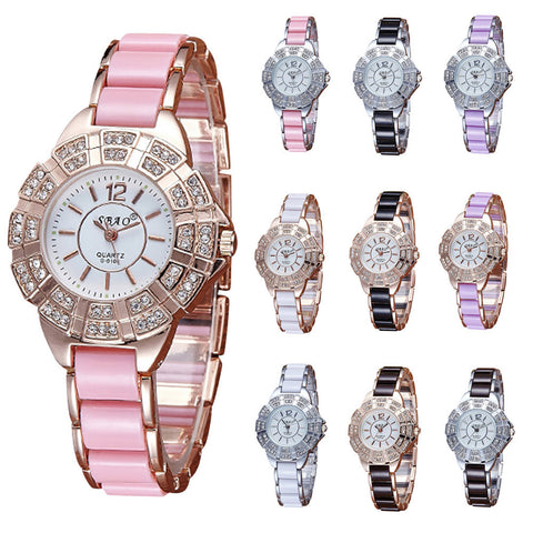 Diamond Bracelet Watches Stainless Steel Analog Quartz Women 's Watch Clock montre femme