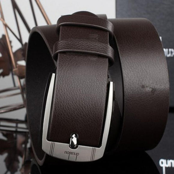 luxury style men's leather belts metal buckle