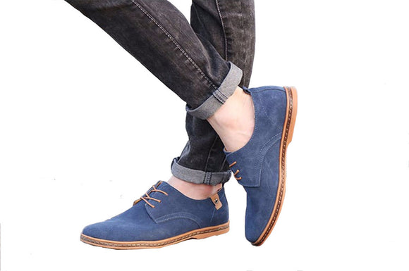 Nubuck leather shoes men's shoes blue color shoes