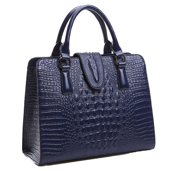 Genuine Crocodile Leather Handbag crocodile pattern Women messenger bags handbags women famous brand designer high quality bag-blue