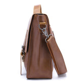 POLO VICUNA Famous Brand High Large Capacity Leather Mens Business Men Leather Briefcase Bag-Khaki