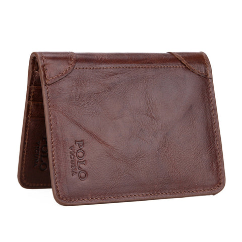 Ultrathin Genuine Leather Mens POLO Wallet