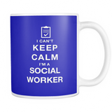 I can't keep calm i'm a social worker coffee mug_blue