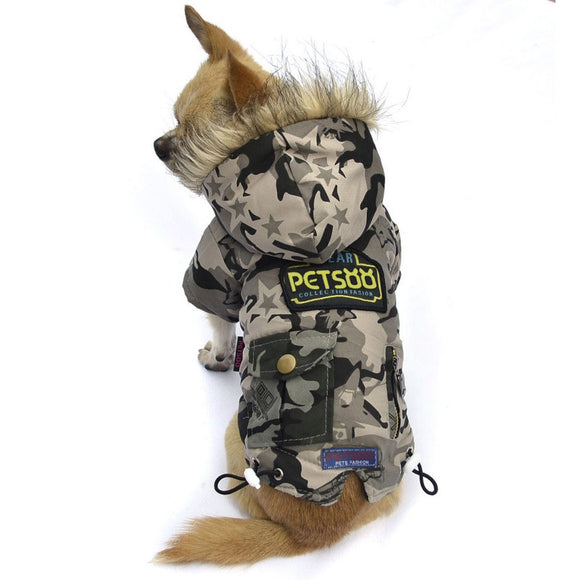 padded winter coats for cats and dogs in camouflage design
