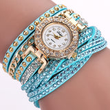 Rhinestone Bracelet wristwatch_mint green