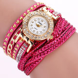 Rhinestone Bracelet wristwatch_rose red
