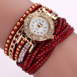 Rhinestone Bracelet wristwatch_red