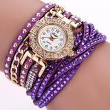 Rhinestone Bracelet wristwatch_purple