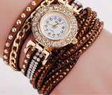 Rhinestone Bracelet wristwatch_brown