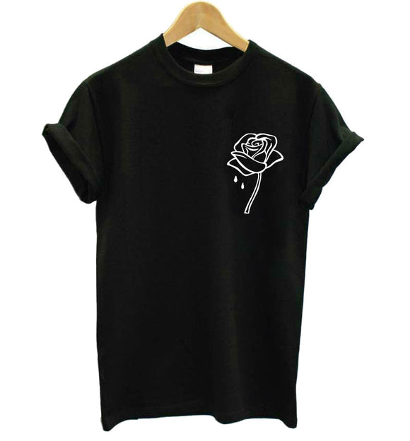 Rose Flower Pocket Print T-Shirts