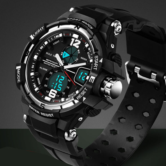 Water and Shock Resistant Multifunction Quartz LED Wrist Watch