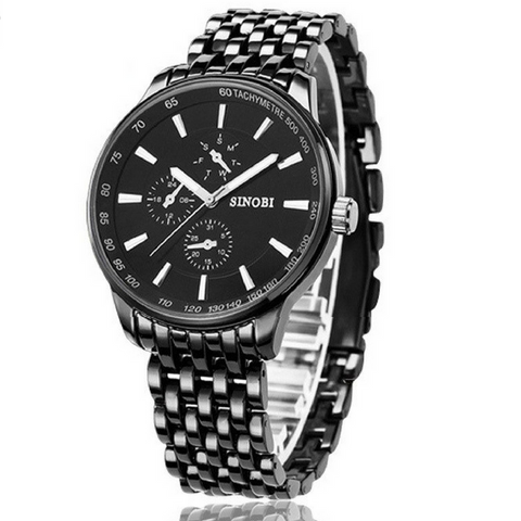 Luxury Quality Waterproof Steel wristwatch_black