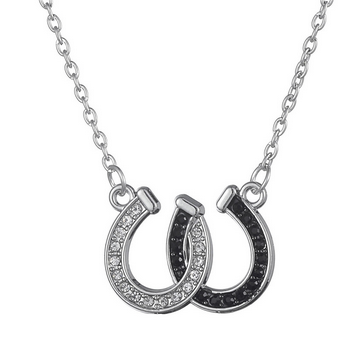Rhinestone Double Horse Hoof Horseshoe Pendant Necklace