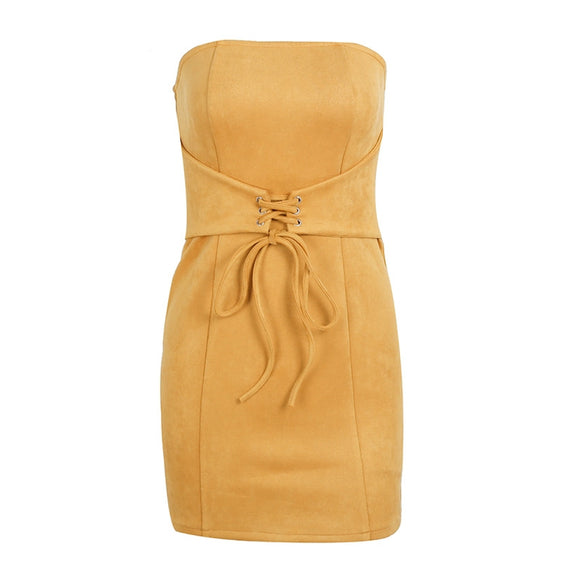 Sexy Strapless Bodycon Party Dress in Suede Leather with Tie-up Waistband yellow color