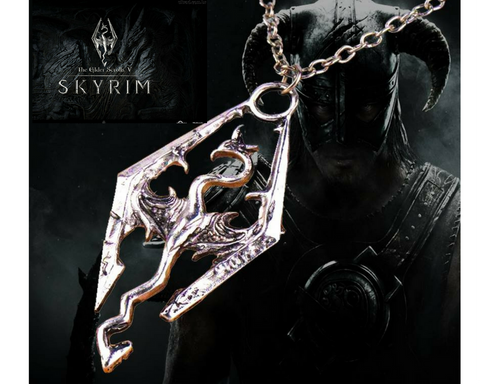 Free! Skyrim Elder Scrolls Dragon Pendant Necklace