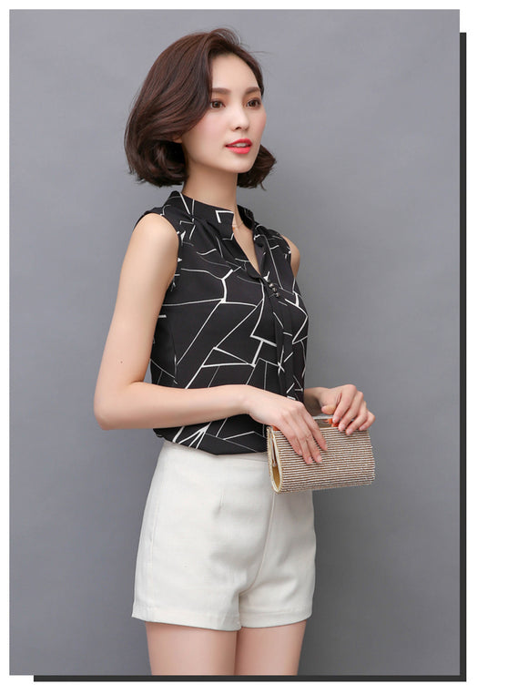 Sleeveless Chic blouse top_black top with fractured crystal design