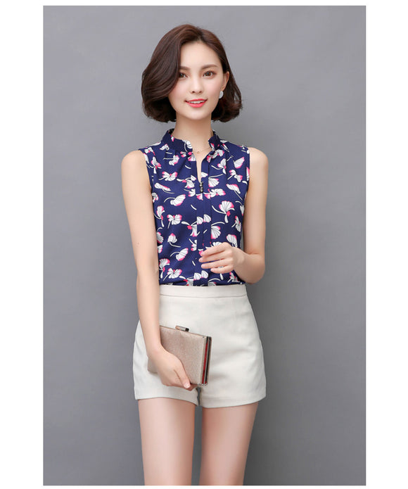 Sleeveless Chic blouse top_navy blue top