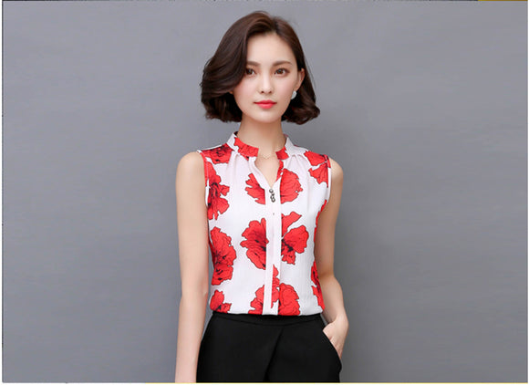 Sleeveless Chic blouse top_red flower top