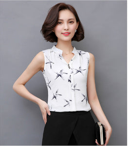 Sleeveless Chic blouse top_white star fish top