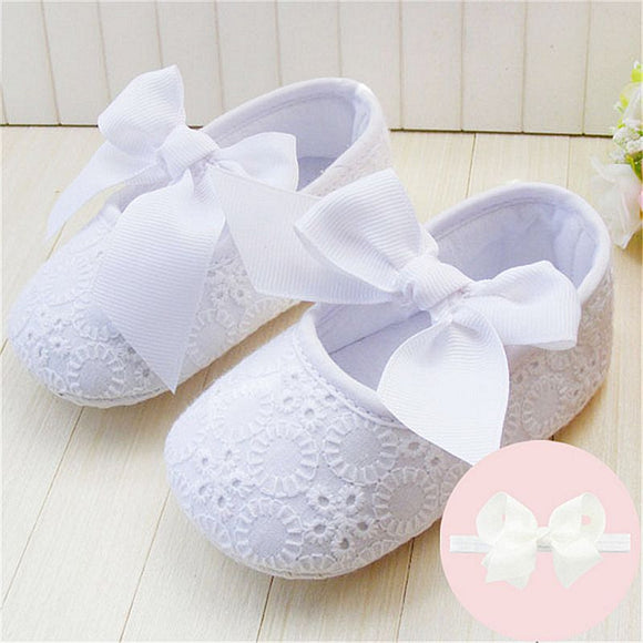 Nicole Soft Sole Baby Girl Shoes Soft Cotton First Walkers Shoes with Head Band