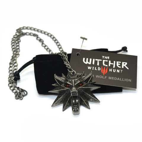 Witcher 3 Wolf Medallion and Chain Necklace
