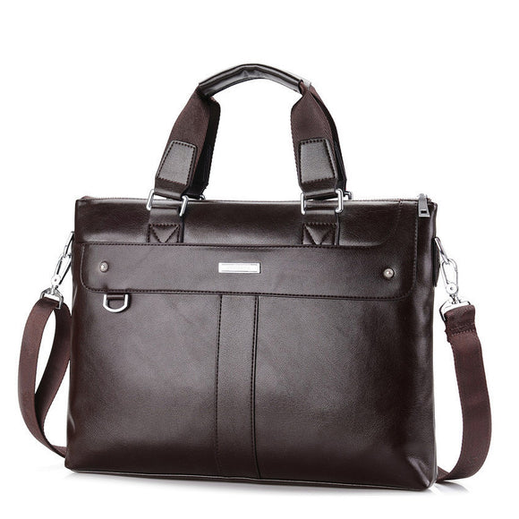 Leather Briefcase for Men with Straps for Shoulder Bag Messenger Bags Computer Laptop Bag