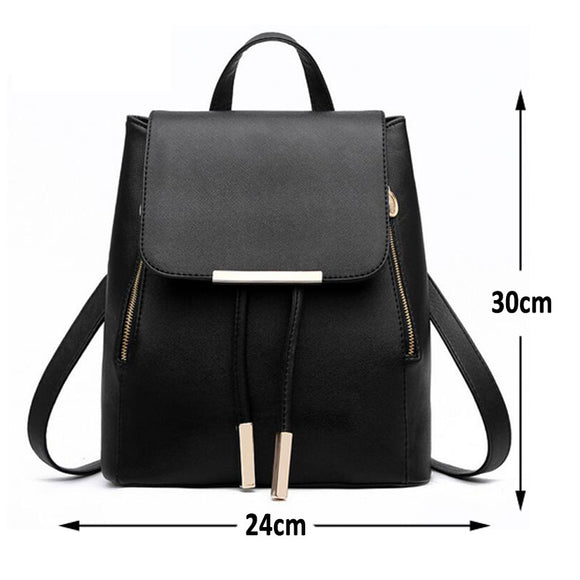 Female High Quality Leather Backpack Teenagers
