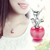 Cute Small Apple Charm Silver Plated Opal Pendant Clavicle Necklace