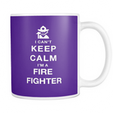 I can't keep calm i'm a fire fighter coffee mug_purple