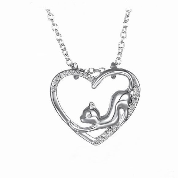 Silver Sterling Cat Design Pendant Necklace Jewelry