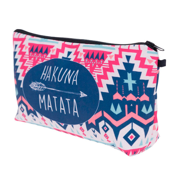trendy make up purse make up bag with hakuna matata print pink color