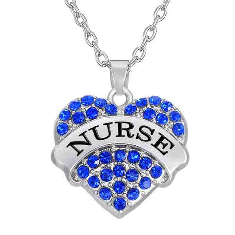 Rhinestone Heart Pendant Nurse Necklace
