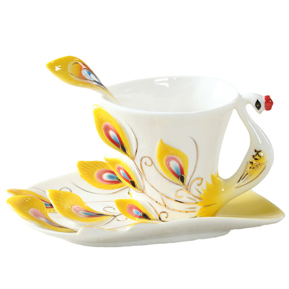 Peacock Porcelain Coffee Cup with Saucer and Spoon