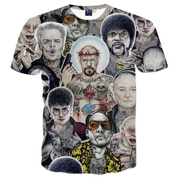 Funny Collage of Celebrities Novelty T shirt