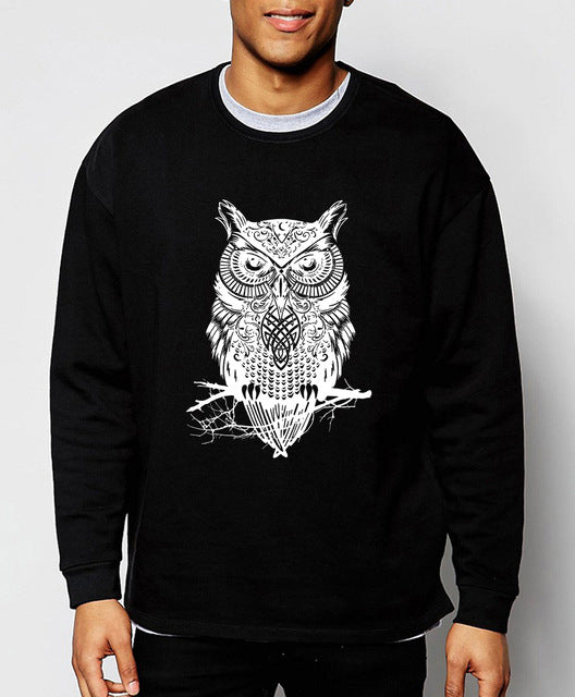 Owl Print Autumn Winter Sweatshirts for Men