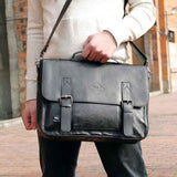 POLO VICUNA Famous Brand High Large Capacity Leather Mens Business Men Leather Briefcase Bag-black
