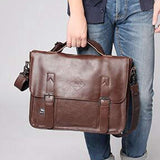 POLO VICUNA Famous Brand High Large Capacity Leather Mens Business Men Leather Briefcase Bag-brown